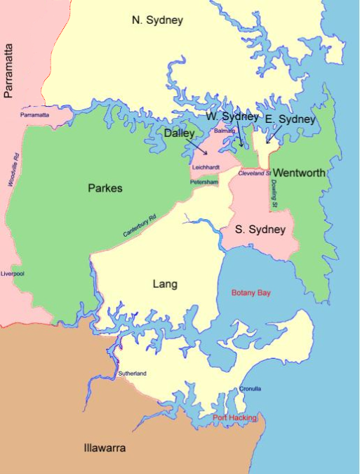 NSW Family History  Sydney Electoral Divisions Map Index